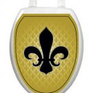 Toilet Tattoos Toilet Lid Cover  French Lily Gold and Black 1049