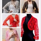 Sexy Lace Bolero Top Lace Half Sleeves Ruffle Red Black White