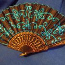 "Fan Sexy  Decorative Black with Blue Aqua Sequins 17"" Wide Free Shipping"