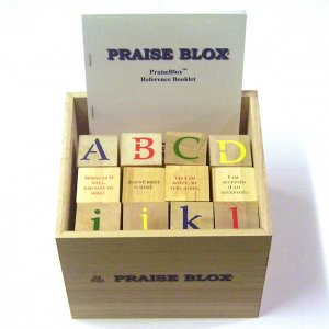 PraiseBlox - 36 Wooden Alphabet Blocks - 23 Christian Praise Songs