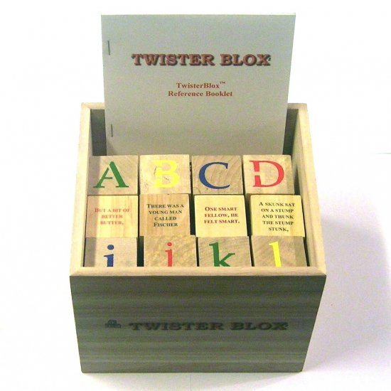 TwisterBlox - 36 Wooden Alphabet Blocks - 44 Classic Tongue Twisters