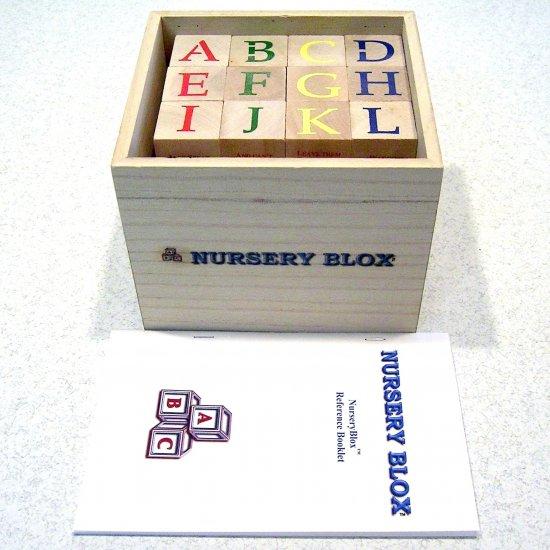 NurseryBlox - 36 Wooden Alphabet Blocks - 24 Classic Nursery Rhymes