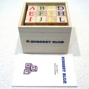 NurseryBlox - 36 Wooden Alphabet Blocks - 24 Classic Nursery Rhymes