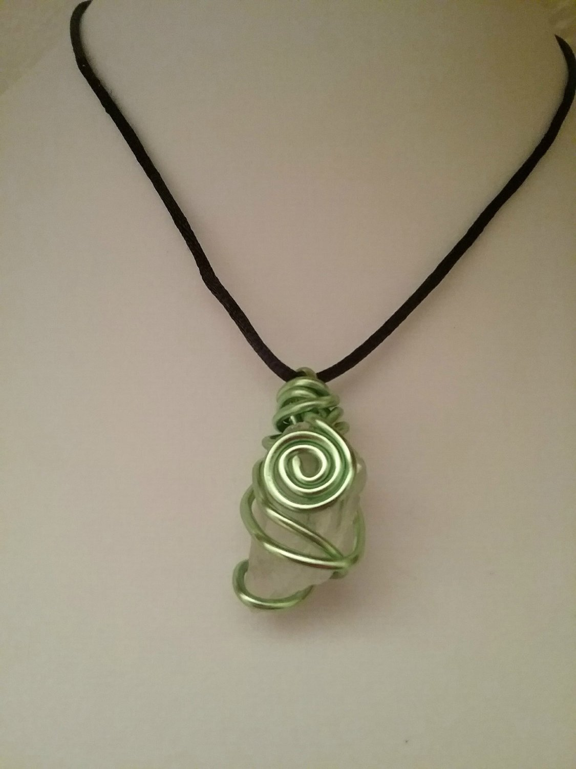 Green Spiral Wire Wrapped Sea Glass Pendant (#DECQ-2122)