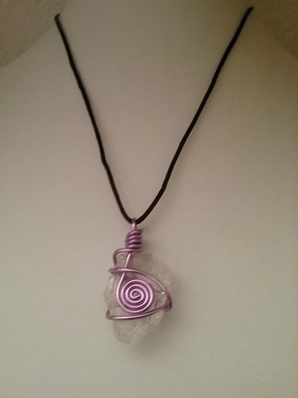 Purple Spiral Wire Wrapped Sea Glass Pendant (#PSG-1)