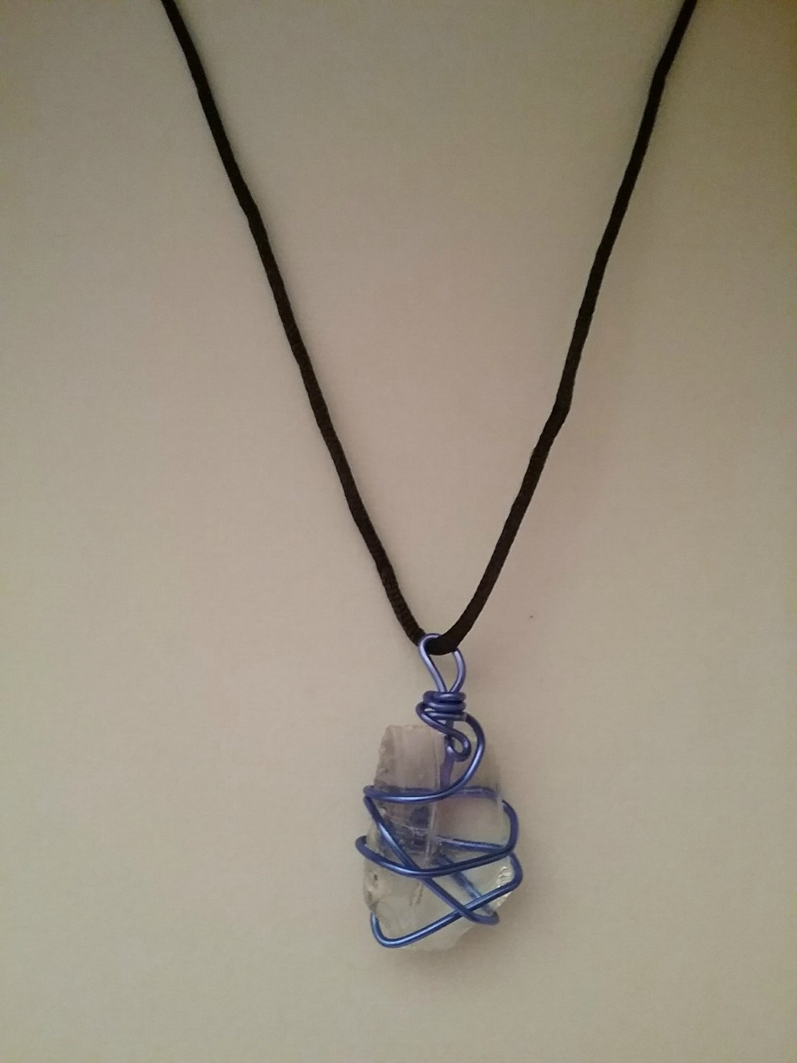 Blue Wire Wrapped Sea Glass Pendant (#BSG-20)