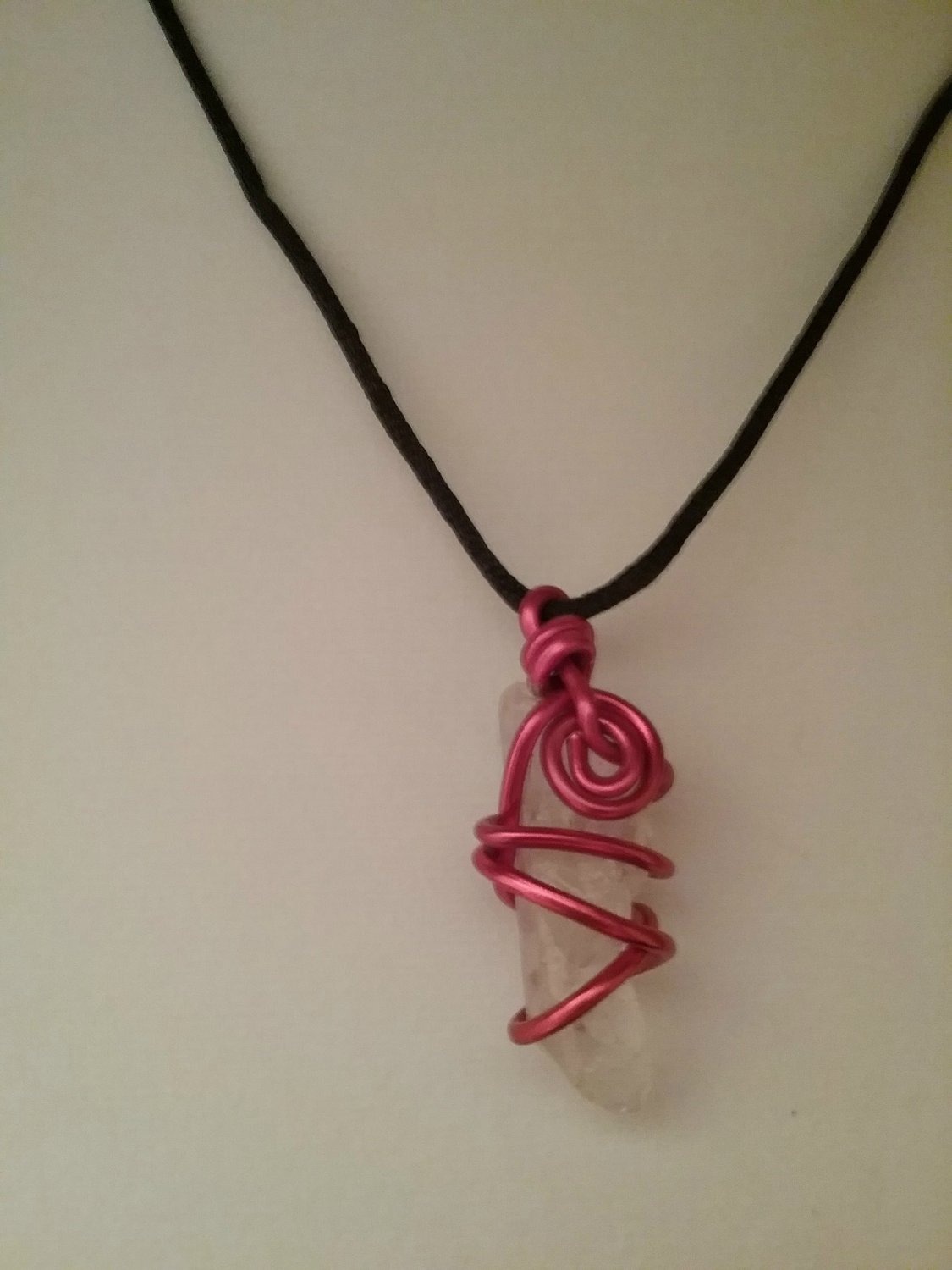 Red Spiral Wire Wrapped Sea Glass Pendant  (#DECQ-2121)