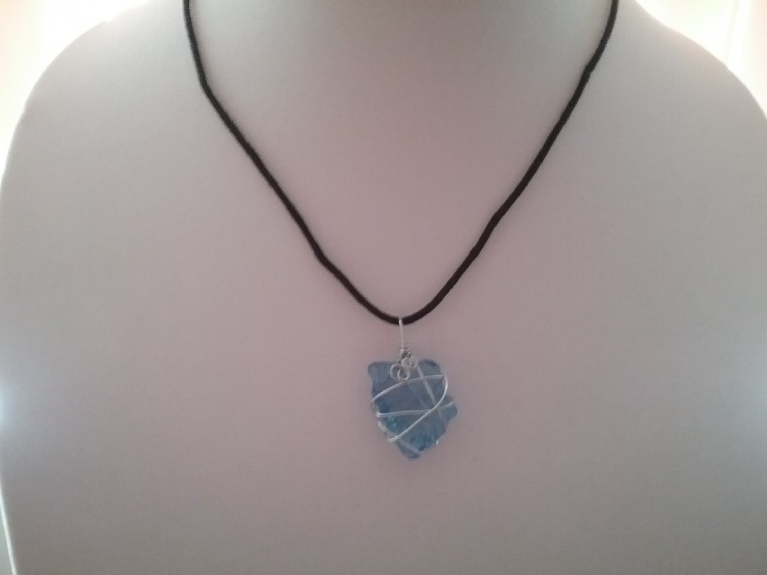 Wire Wrapped Blue Sea Glass Pendant (#BLUSG-44)