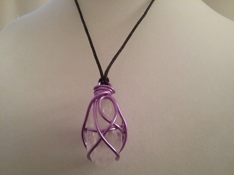 Purple Wire Wrapped Quartz Crystal  (#CRG-QP22)