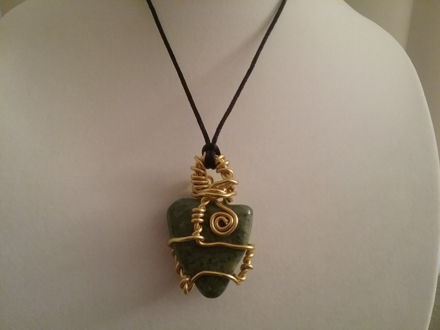 Gold Wire Wrapped Jade Crystal  (#JA-NSL1)
