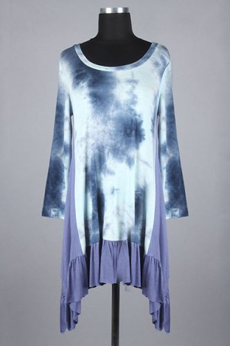Flirty Loose Fit Knit Top in Tie Dye and Solid Contrast Featuring Pleated Trim Draped Hem.