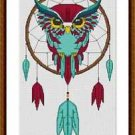 Cross-Stitch Embroidery Color Pattern with DMC codes -  Native Owl Dreamcatcher