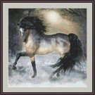 Cross-Stitch Embroidery Color PATTERN with DMC thread codes - Winter Horse #2