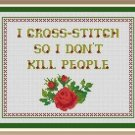 Cross-Stitch Embroidery Color Pattern with DMC thread codes - Funny Quote