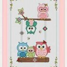 Cross-Stitch Embroidery Color Pattern with DMC codes -  Cute Owl Family