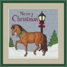 Cross-Stitch Embroidery Color Pattern with DMC codes - Merry Christmas Horse