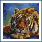 Cross-Stitch Embroidery Color Pattern with DMC codes -  Beautiful Tiger