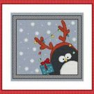 Cross-Stitch Embroidery Color Pattern with DMC codes -Christmas Penguin Reindeer