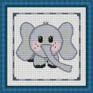 Cross-Stitch Embroidery Color Pattern with DMC codes - Cute Baby Elephant