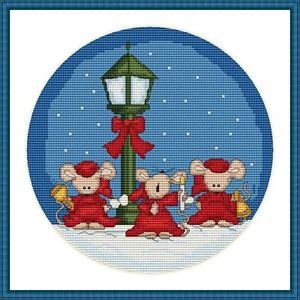 Cross-Stitch Embroidery Color Pattern DMC thread codes- Christmas Mice Carol