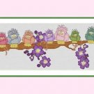 Cross-Stitch Embroidery Color Pattern with DMC codes -  Sleepy Birds