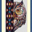 Cross-Stitch Embroidery Color Pattern with DMC codes -  Beautiful Native Owl