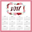 Year 2017 12 Month Calendar Art Kitchen Refrigerator Magnet - Colorful Flowers
