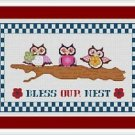 Cross-Stitch Embroidery Color Digital Pattern w. DMC codes - Bless Our Nest Owls