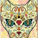 Decor Collectible Kitchen Fridge Magnet - Flower Sugar Skull Cat
