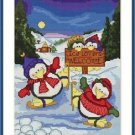 Cross-Stitch Embroidery Color Pattern with DMC codes - Cute Ice Lover Penguins