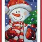 Cross-Stitch Embroidery Color Pattern with DMC thread codes - Smiling Snowman