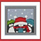 Cross-Stitch Embroidery Color Pattern with DMC codes -Cute Christmas Penguins #2
