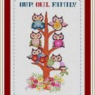 Cross-Stitch Embroidery Color Pattern with DMC codes - Our Owl Family Tree+Fonts