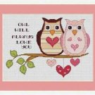 Cross-Stitch Embroidery Color Pattern with DMC codes - Owl Will Always Love You