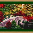 Cross-Stitch Embroidery Color Pattern with DMC thread codes - Bridge to Autumn