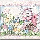 Cute Easter Decor Collectible Kitchen Fridge Refrigerator Magnet - Garden Bunny