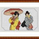 Cross-Stitch Embroidery Color Pattern with DMC codes - Japanese Geishas