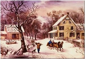 Victorian Christmas Holiday Decor Collectible Fridge Magnet - Country Life #2