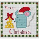 Cross-Stitch Embroidery Color Pattern DMC thread codes- Cute Santa Mouse