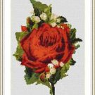Cross-Stitch Embroidery Color Pattern with DMC codes - Victorian Red Rose