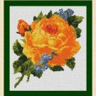 Cross-Stitch Embroidery Color Pattern with DMC codes - Victorian Yellow Rose