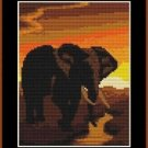 Cross-Stitch Color Embroidery Pattern with DMC codes - Sunset Elephant