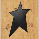 Primitive Country Folk Art Kitchen Refrigerator Magnet - Wood Pattern with Star