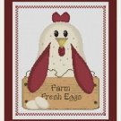 Cross-Stitch Embroidery Color Digital Pattern w. DMC codes - Country Chicken