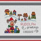 Cross-Stitch Embroidery Color Pattern with DMC code - Christmas Rudolph Greeting