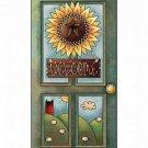 Primitive Country Folk Art Kitchen Refrigerator Magnet - Sunflower Welcome
