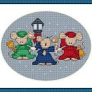 Cross-Stitch Embroidery Color Pattern with DMC thread codes - Mice Caroling