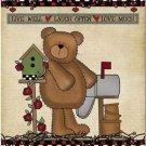 Beautiful Decor Design Collectible Kitchen Fridge Magnet - Garden Teddy Bear