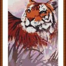 Cross-Stitch Embroidery Color Pattern with DMC codes - Relaxing Tiger