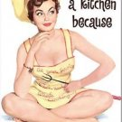 Primitive Country Folk Art Kitchen Refrigerator Magnet - Pretty Pinup Girl